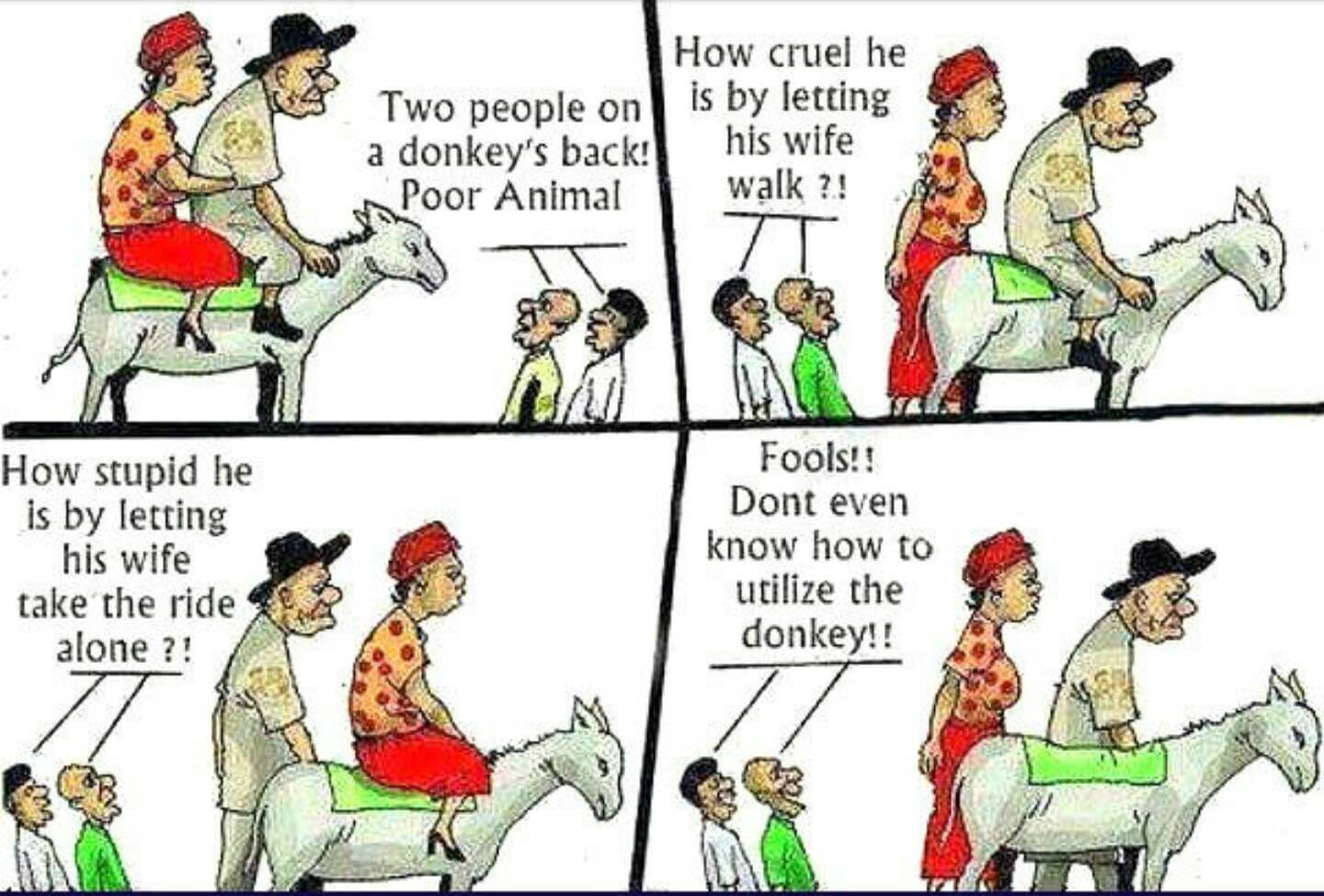 man, woman, and donkey comic